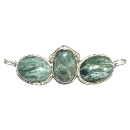 Seraphinite ring and earrings