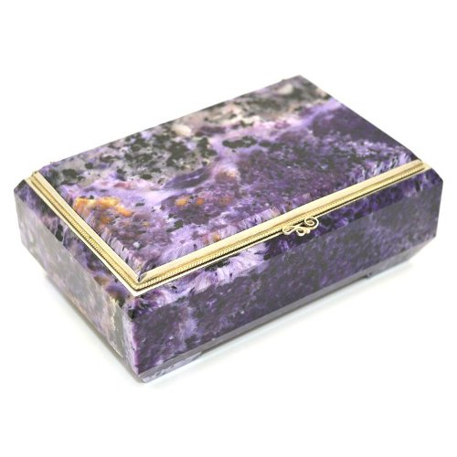 Unique Mineral Charoite from Siberia Polished Natural Stone Jewelry Box Made of Green Serpentine and Violet Charoite