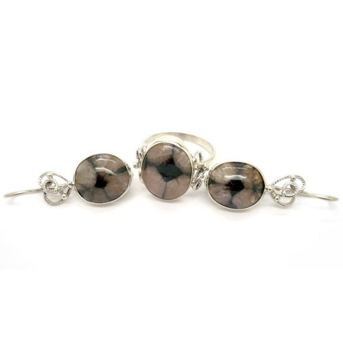 Chiastolite ring and earrings