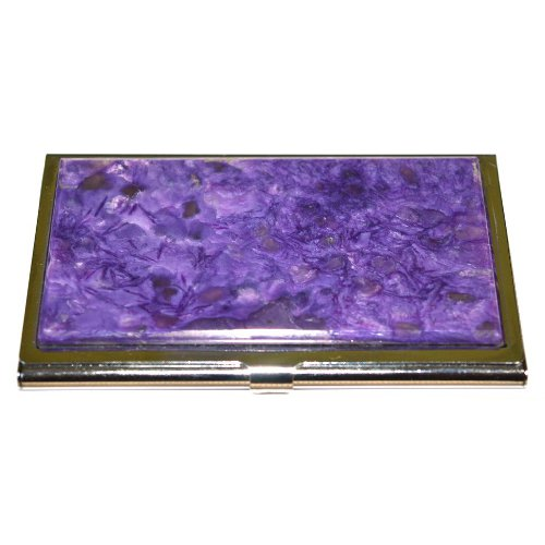 Charoite business card holder