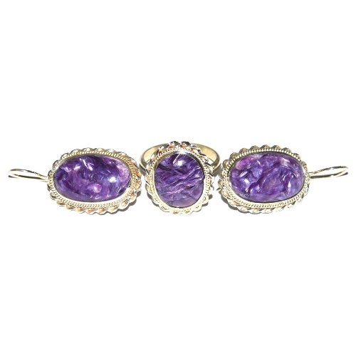 Charoite ring and earrings