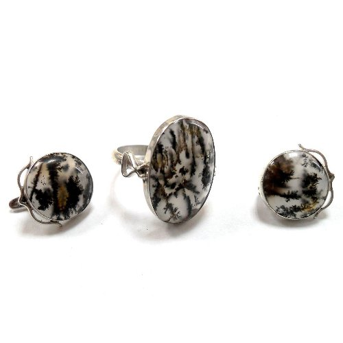 Dendritic agate ring and earrings