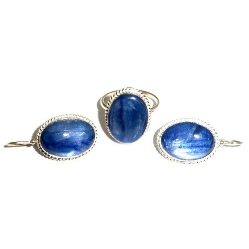 Kyanite ring and earrings