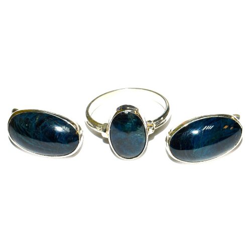 Lazulite ring and earrings
