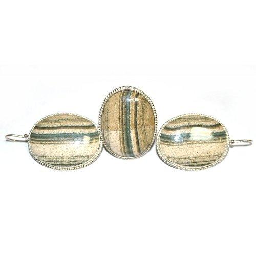 Datolite skarn ring and earrings
