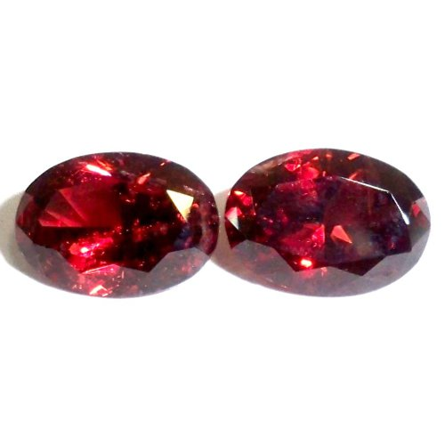 Faceted rhodolite cabochons
