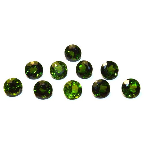 Faceted chrome diopside cabochons