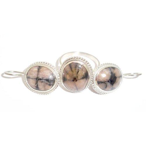 Chiastolite ring and earrings